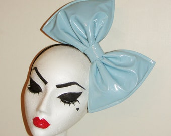 Baby blue pale duck egg latex PVC hair bow fascinator headband or comb