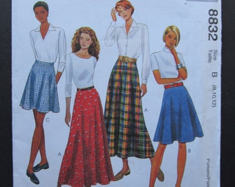 McCalls Sewing Pattern 8832 Misses Skirt in 3 Lengths Size 8 10 12 Quick & Easy Flared Skirt Uncut Pattern 1997