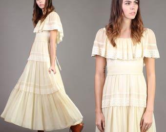 vintage FLUTTER SLEEVE sun TIERED wedding empire prairie hippie boho maxi dress 70s 1970s small S