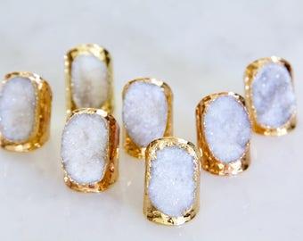 White Druzy Cuff Ring