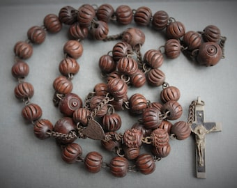 19th Century Carved Wood and Steel Marian Rosary ca. 1870