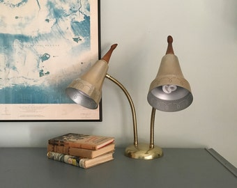 Vintage Double Gooseneck Lamp Adjustable Mid Century Desk Lamp