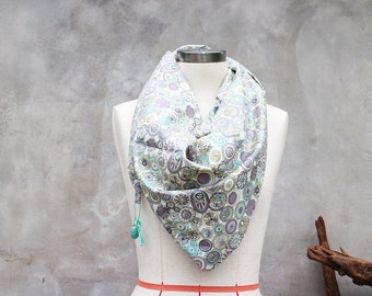 Quirky print mint green cotton weighted scarf with large bead and vintage style key charm