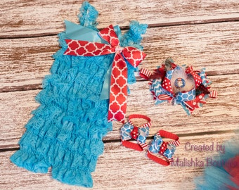 Cat in the Hat First Birthday Lace Romper Over the Top Hair Bow Headband Barefoot Sandals Outfit Set Turquoise Blue Red Ruffle Petti prop