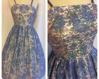 1950s 1960s Blue Floral Full Skirt Party Dress with Purple Lace Overlay