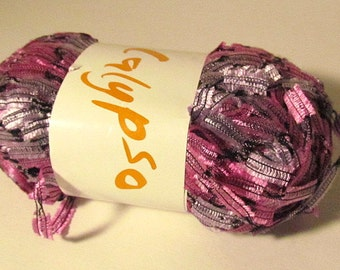 South West Trading Co. Calypso Yarn 550-7 Pink/Gray Ladder Ribbon Yarn