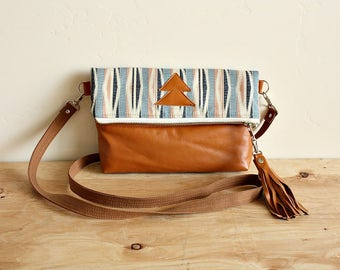 Foldover IKAT small Purse handbag satchel Leather trim -- Ready--