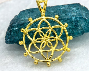 Flower Of Life Pendant,  25mm,  5pcs, Symbol,  Round, Gold Plated -C815