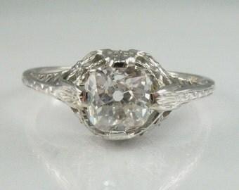 Mine Cut Diamond Engagement Ring - 0.82 Carat Vintage Old Mine Cut Diamond Ring - Appraisal Included