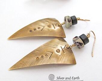Triangle Earrings, Brass Tribal Earrings, Handmade Metal Jewelry, Dagger Earrings, Modern Tribal Jewelry, Edgy Trendy Geometric Earrings