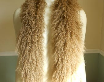 Fur Scarf / Lamb Collar / Tibetan Mongolian Lamb / 1980s / Brown Curly lamb