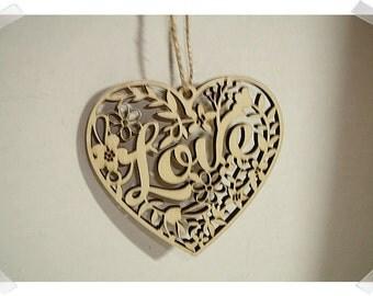 Wooden Heart Ornament- Laser Cut Design /Unfinished/Craft Supplies*
