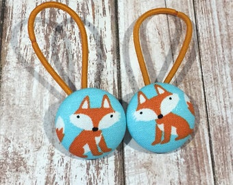 """1 1/8"""" Size 45 Orange/White/Blue Fox Fabric Covered Button Hair Tie / Ponytail Holder / Party Favor (Set of 2)"""