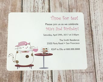Peanut Cat Collection - Parfait Time For Tea A2 Flat Note Birthday Party Invitations (Choose your envelope color) (Set of 10)