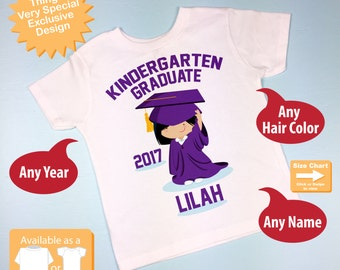 Kindergarten Graduate Shirt, Personalized for your child with year, name and color (05222014c)