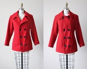 1960s Red Navy Pea Coat - Vintage 60s USN Issued Wool Peacoat w Bakelite Anchor Buttons S - Sailor Girl Jacket
