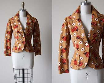1970s Jacket - 70s Novelty Print Ladybugs Cinnamon Brown Corduroy Jacket S - Ladybird Jacket