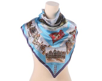Vintage 70s Venezia Silhouette Scarf Souvenir Retro Kerchief Geography Travel Scarf Brown Blue Red Grey
