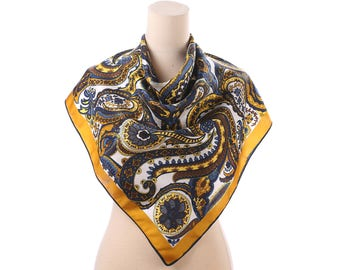 Silk Shawl Large 60s Vintage Paisley Psychedelic Printed Navy Blue Yellow Brown 1960s Scarf 33 in Square Hippie Boho Womens Gift