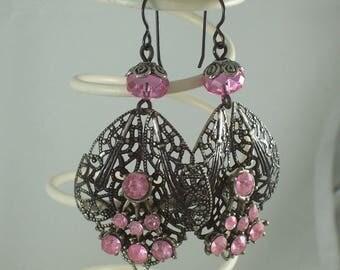 Gunmetal Filigree Faceted Pink repurposed assemblage earrings by ceeceedesigns on etsy