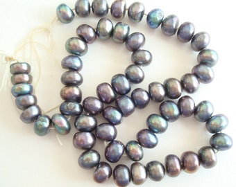 "Peacock potato pearls, 1 strand 13"" long, 4 mm cultured freshwater pearl beads, deep blue grey, embellishment, ornaments, costume design"