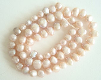 "Pink potato pearls, 1 strand 16"" long, large 8mm side drilled, cultured freshwater pearl beads, jewelry, embellishment, ornaments, costumes"