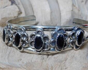 Black Onyx in Sterling Silver bracelet Cuff Style RF030