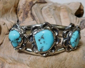 Turquoise in Sterling Silver Bracelet Cuff Native American RF033