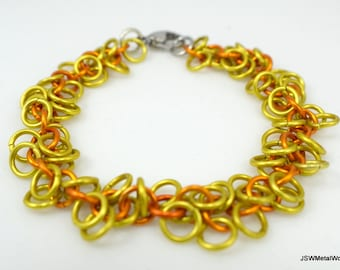 Yellow and Orange Shag Bracelet, Aluminum Chainmail Bracelet, Aluminum Bracelet, Orange Bracelet, Yellow Chainmail Bracelet, Gift under 25