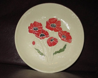 "Poppies!  Handmade Ceramic wall hanging   5""                                              215"
