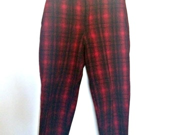 Vintage Woolrich Ski Pants - Red Black Shadow Plaid - Unisex - 36/31 M