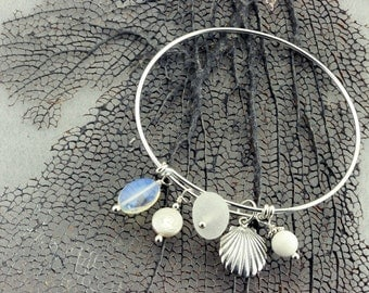 Sterling Silver Adjustable Charm Bracelet with White Genuine Sea Glass