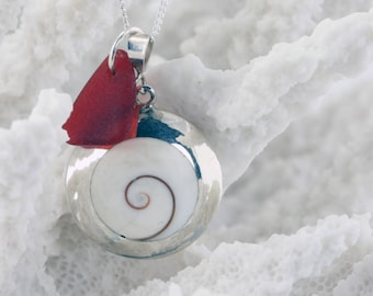 NEW Reversible Bamboo Coral and Shiva Shell SS Necklace with Genuine Sea Glass
