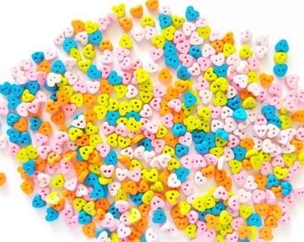 200 pcs Tiny Love Heart Buttons 4 mm Mix Pastel Color Blue Green Orange Beige Baby Pink