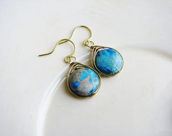 Jasper Earrings, Wire Wrapped Earrings, Stone Earrings, Blue Stone Earrings, Geology Earrings