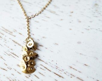 14k Gold Necklace / Gold Necklace / Multiple Pendants Necklace / Solid Gold Necklace / Long Necklace / Handmade Jewelry / Wedding Jewelry
