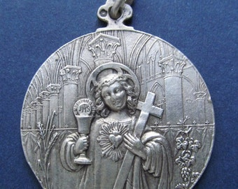 On Sale Jesus Religious Medal French Art Nouveau Silver Holy Communion Dated 1898  SS54