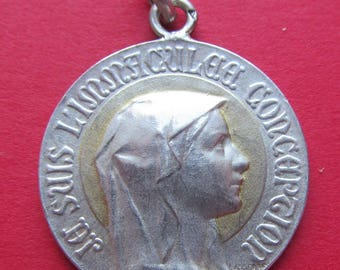 Antique Silver Virgin Mary Religious Medal Catholic 1Lourdes Pendant Gold Halo Signed Lasserre SS178
