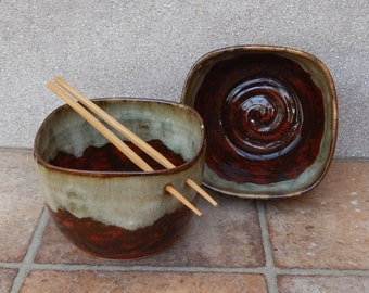 Pair of noodle or rice bowls hand thrown in stoneware wheelthrown pottery handmade ceramic