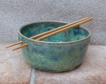 Noodle or rice bowl wheel thrown in stoneware ceramic pottery handmade handthrown