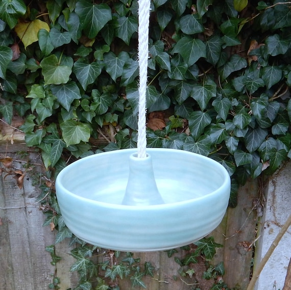 Bird feeder hand thrown in stoneware weatherproof pottery frostproof ceramic  handmade wheelthrown