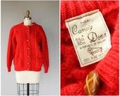 1960s Aran Sweater | 60s Aran Cardigan | Red Wool Cardigan | Red Fisherman Sweater | Cable Knit Sweater | Irish Wool Sweater