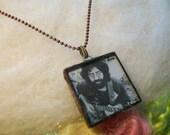 Jerry Garcia Necklace Jerry Garcia Pendant Grateful Dead Jewelry Grateful Dead Necklace Handmade Tie Dye Pendant Copper Bezel Ball Chain
