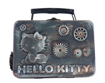 SteAMpunk Hello Kitty  with pocket watch gears charm lunch box pencil case bag bento style tote for art tools