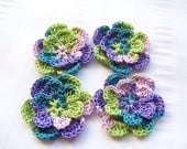 Appliques hand crocheted flowers set of 4 springtime cotton 1.5 inch