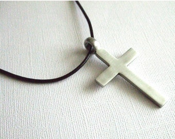 Mens Cross Necklace Christian Jewelry Faith Necklace Religious Jewelry