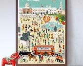 Busy London Life - Trafalgar Square A2 Art Print