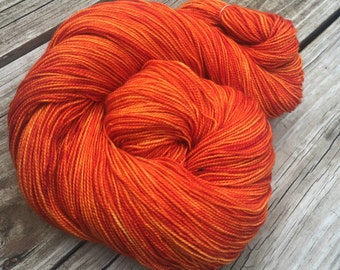 hand dyed sock weight yarn Lusty Wench Orange Shawl Length Superwash Merino Cashmere Nylon MCN 600 yards fingering weight pumpkin tangerine
