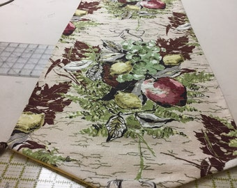 50s Floral Bouquet Runner/ Vintage Shantung Fabric//wTassels//Screen Print Vat Dyed