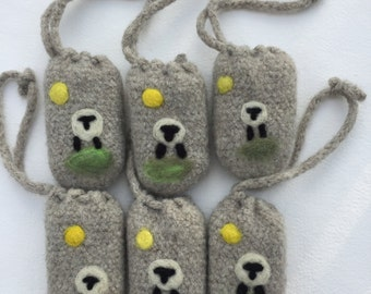 Felted soap pouch with soap sheep design ready to ship